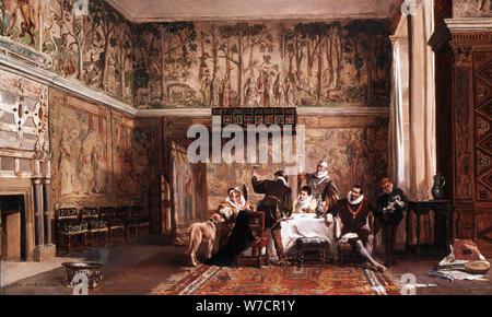 'Innenraum von Haddon Hall', 19. Artist: John laslett Pott - Stockfoto