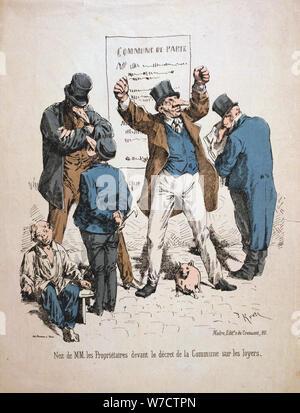 Karikatur der Eigentümer, die Pariser Kommune, 1871. Artist: Anon - Stockfoto