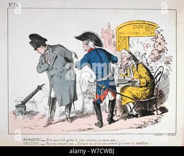 Karikatur von Napoleon I., der Fall der Colonne de Vendôme, Pariser Kommune, 1871. Artist: Anon - Stockfoto