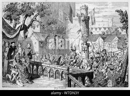 Masque in den Garten des Palastes der Tower von London, 1840 Künstler: George Cruikshank