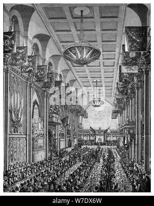 Bankett in der großen Halle für Königin Victoria, Guildhall, City of London, November 1837 (1886). Artist: Unbekannt - Stockfoto