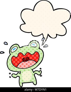 Cute cartoon Frosch mit Sprechblasen im Comic Stil Angst - Stockfoto