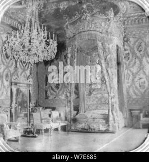 Marie Antoinettes Schlafzimmer, Schloss Fontainebleau, Frankreich, Ende des 19. oder Anfang des 20. Jahrhunderts. Artist: Unbekannt - Stockfoto