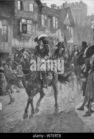 Jakob II. in Dublin nach der Schlacht am Boyne 1690 (1905). Künstler: unbekannt. - Stockfoto
