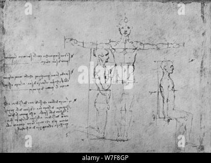 """""""Studien über die Proportionen der drei Figuren, c1480 (1945). Künstler: Leonardo da Vinci. - Stockfoto"""
