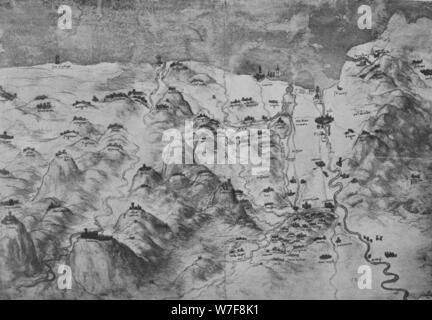 """""""Vogelperspektive Ansicht Teil der Toskana"""", c1480 (1945). Künstler: Leonardo da Vinci. - Stockfoto"""