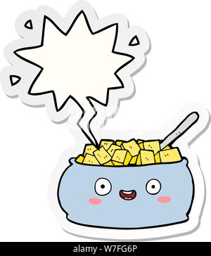 Cute cartoon Schüssel mit Zucker mit Sprechblase Aufkleber - Stockfoto