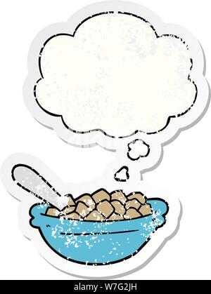 Cartoon Müsli Schale mit dachte Bubble als Distressed getragen Aufkleber - Stockfoto