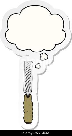 Cartoon metall Datei mit dachte Bubble als gedruckte Aufkleber - Stockfoto