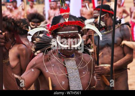 Wamena/Papua, Indonesien - 08 Aug 2016. Nationale Festival der lokalen Stämme in Wamena Stadt, Papua - Stockfoto