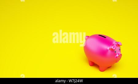 Rosa Sparschwein auf gelben Hintergrund. 3D-Rendering - Stockfoto