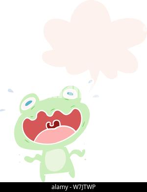 Cute cartoon Frosch mit Sprechblase im Retro-stil Angst - Stockfoto