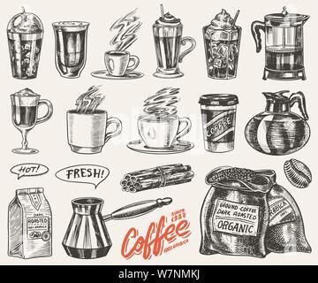Eingestellt von Tassen Kaffee im Vintage Style. Nehmen Sie Cappuccino und Glace, Espresso und Latte, Mokka und Americano, Frappe in einem Glas. Hand gezeichnet - Stockfoto