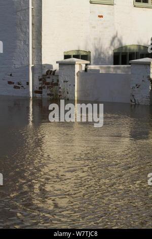 Haus mit flood Gate im Februar 2014 Überschwemmungen, Upton bei Severn, Worcestershire, England, UK, 9. Februar 2014. - Stockfoto