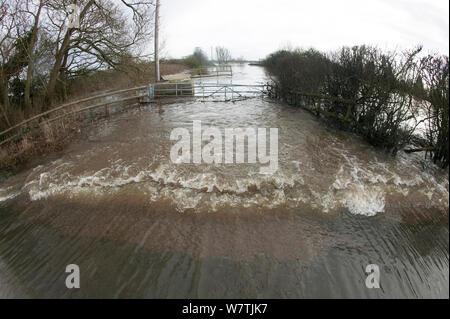 Die überfluteten Wiesen im Februar 2014 Überschwemmungen, Upton bei Severn, Worcestershire, England, UK, 9. Februar 2014. - Stockfoto