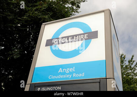 Fahrradverleih Logo für Barclays Fahrräder, Engel, Londoner Stadtteil Islington, England Großbritannien - Stockfoto