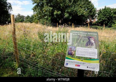 London House Sparrow Parks Projekt Zeichen, die eine Fläche von Laycock Street Park in Highbury eingezäunt und bepflanzt mit wilden Blumen als ein Experiment von der RSPB und Islington Rat auf Spatzen (Passer domesticus), die Website zu benutzen und auch die aktuelle Bevölkerung, Londoner Stadtteil Islington, England, UK zu fördern - Stockfoto