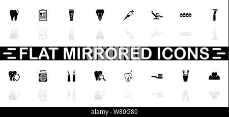 Zahnmedizinische Symbole - schwarzes Symbol auf weißem Hintergrund. Einfache Abbildung. Flache Vektor Icon. Spiegelbild Schatten. In logo, Web, Mobile und verwendet werden. - Stockfoto