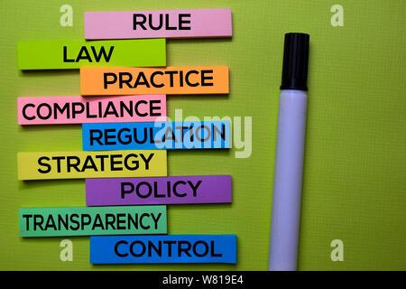 Regel, Recht, Praxis, Compliance, Verordnung, Strategie, Politik, Transparenz, Kontrolle text auf Haftnotizen auf grünen Schreibtisch isoliert. Mechanismus Strategie C