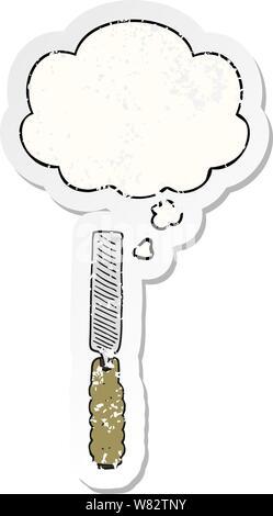 Cartoon metall Datei mit dachte Bubble als Distressed getragen Aufkleber - Stockfoto