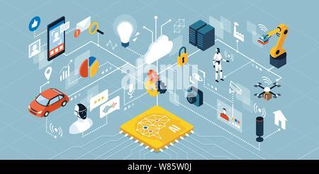 Künstliche Intelligenz Anwendungen, Smart Devices, Roboter, Automation: Netzwerk von isometrischen Objekte verbinden - Stockfoto