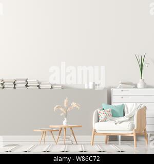 Leere Wand mock up im skandinavischen Stil mit Holzmöbeln. Minimalistische Inneneinrichtung. 3D-Darstellung. - Stockfoto