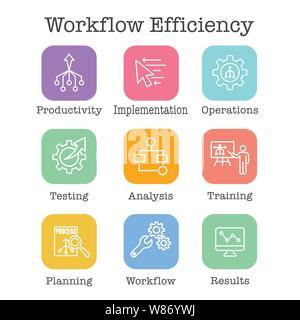Die Effizienz des Workflows Icon Set mit Operationen, Prozessen, Automatisierung, etc. - Stockfoto