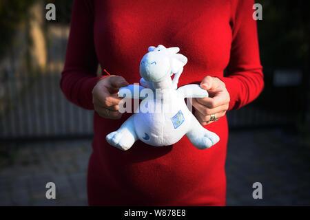 Frau in ihrem letzten Trimester der Schwangerschaft trägt einen roten Jersey Kleid und mit einem niedlichen blauen Dinosaurier Plüsch Spielzeug offenbart das Geschlecht des Babys als Junge - Stockfoto