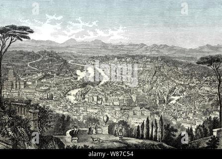 Panorama von Rom, Italien, 19. Jahrhundert - Stockfoto