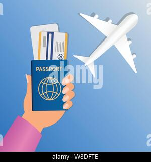 Hand der Stewardess mit Pass und Flugticket auf runden blauen Hintergrund. Business Hand mit Reisepass und Tickets Vector Illustration. Flugreisen - Stockfoto