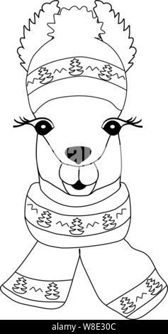 Lama in einem Winter Hut mit einem Schal, der einen Weihnachtsbaum. Llama schwarz-weiß zum Ausmalen, kindliche Drucken für Gewebe, T-Shirt, Karte. - Stockfoto