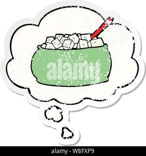 Cartoon Sugar Bowl mit Gedanken bubble Als distressed getragen Aufkleber - Stockfoto
