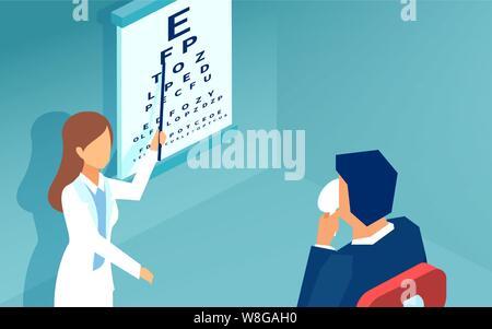 Isometrische Vektor einer Frau Augenarzt untersuchen Patienten mit einer Snellen Chart - Stockfoto