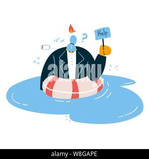 Emotionalen burnout Frau im Wasser mit einem Zeichen helfen, in einem Rettungsring gekleidet. müde und gereizt Büroangestellter in Verzweiflung mit Feuer über ihren Kopf. St - Stockfoto