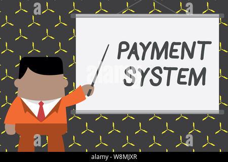 Text Zeichen angezeigt Zahlungssystem. Business foto Präsentation Ausgleichsregelung Methode bei der Zahlung von Waren und Dienstleistungen Geschäftsmann vor verwendet - Stockfoto