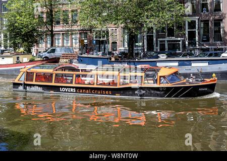 Amsterdam Canal boot Athene von Liebhabern Kanal Kreuzfahrten an der Singelgracht. - Stockfoto