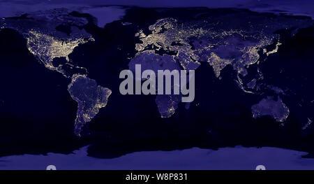 Lichtverschmutzung Karte Welt.Raum Satelliten Die Erde Umkreisen Elemente Des Bildes Von