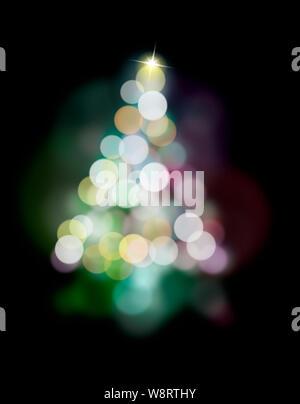 Bokeh, die in einem Baum angeordnet ist, Xmas Konzepte und Ideen - Stockfoto