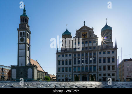 Augsburger Rathaus und perlach Tower, Unesco Weltkulturerbe - Stockfoto