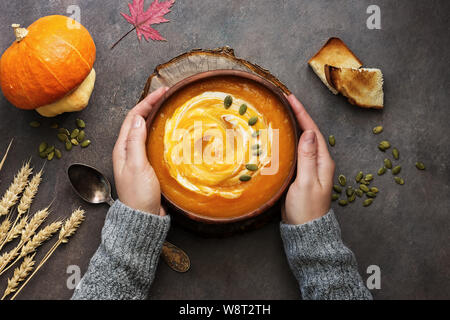 Eine Schüssel mit heißer Kürbis Cremesuppe mit Sauerrahm und Samen in weibliche Hände in einem wollpullover auf einem dunklen Hintergrund im Landhausstil. Herbst und Winter Erwärmung - Stockfoto