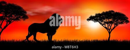 Silhouette eines Afrikanischen Löwen. Lion auf dem Hintergrund der Sonne und Bäume. Afrikanische wilde Landschaft. Sonnenuntergang. Die Tierwelt Afrikas. - Stockfoto