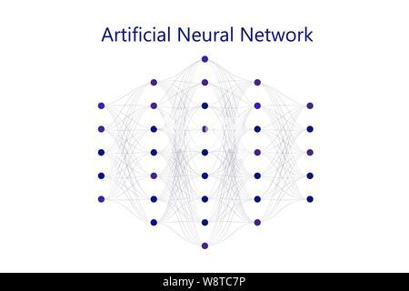 Neuronales Netz Modell mit dünnen Synapsen und Kreis Neuronen in einer Full Mesh verbunden. Vector Illustration auf weißem Hintergrund. Für web Desig - Stockfoto