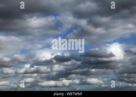 Bewölkter Himmel, Weiß, Grau, cumulus Wolken, blauer Himmel, Meteorologie, Wetter - Stockfoto