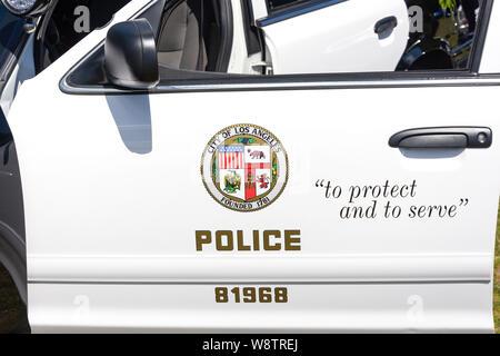 Los Angeles Polizei Auto Logo, Marina del Rey, Los Angeles, California, Vereinigte Staaten von Amerika - Stockfoto