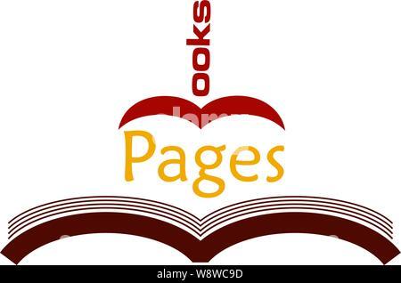 Seiten Bücher store logotypewith einer geöffneten Grafik Buch & ein Buch geformte 'B' - Stockfoto