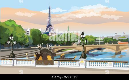 Bunte vektor Abbildung: Eiffelturm, Wahrzeichen von Paris, Frankreich. Panoramablick auf das Stadtbild mit Eiffelturm und Pont Alexandre III, mit Blick auf Seine r - Stockfoto