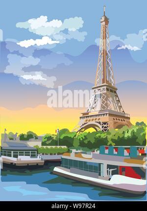 Bunte vektor Abbildung: Eiffelturm, Wahrzeichen von Paris, Frankreich. Stadtbild mit dem Eiffelturm, mit Blick auf Seine River Embankment. Bunte Vektor - Stockfoto