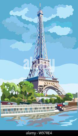 Bunte vektor Abbildung: Eiffelturm, Wahrzeichen von Paris, Frankreich. Stadtbild mit dem Eiffelturm, mit Blick auf Seine River Embankment. - Stockfoto