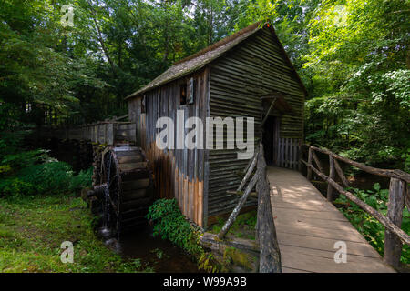 Wasserrad und alte Mühle in den Wald. Cades Cove, Smoky Mountains National Park, Tennessee - Stockfoto