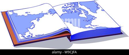 Karte oder Atlas offen für & mit der Pacific North americ Northwast Asien & Pazifik Raum & relateed Landmassen und der atlanti Oce - Stockfoto